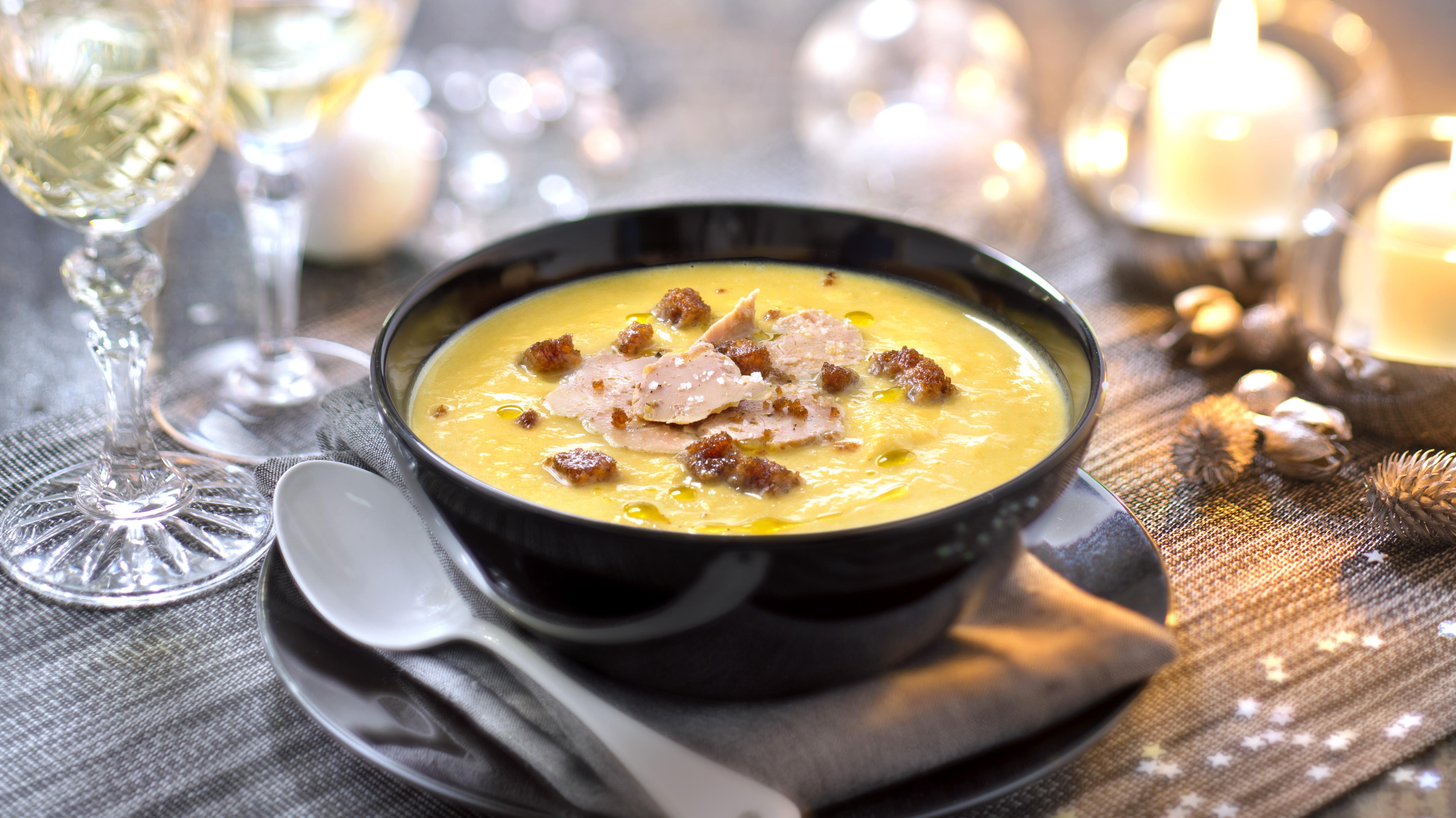 veloute potiron copeaux foie gras